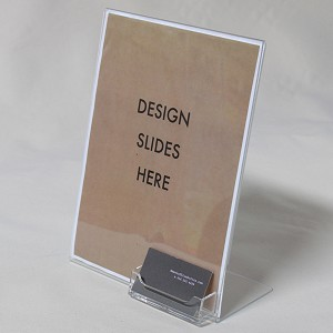 8.5X11 Plastic Sign Display with Business Card Holder