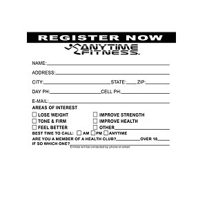 Anytime Fitness Entry Forms. 3 Different Pads To Choose From