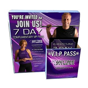 25 Cardboard Brochure holders, 25 Anytime Decal Stickers, 1000 VIP passes -
