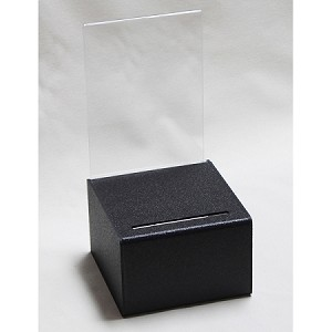 Small Countertop Black Plastic Ballot or Suggestion Box  -