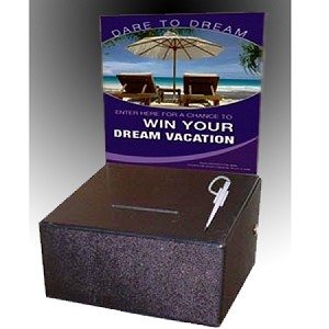 Extra Large Countertop Plastic Entry Box.Artwork sold separately - comes with lock and security pen. Works greats a sweepstake, collection, donation, contest box.