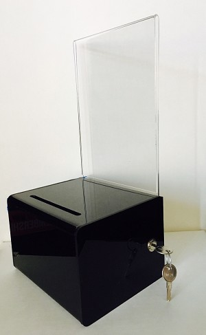 Small Black Acrylic Contest and Collection Box with Lock
