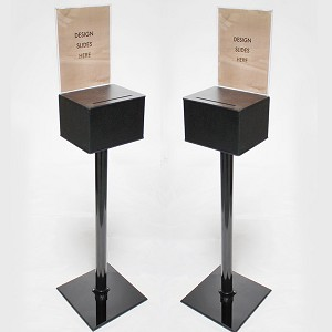 Affordable Black Floor Standing Comment Box with 8.5 x 11 Sign holder. Sign holder slides into back section of entry box. Holder locks onto side of box