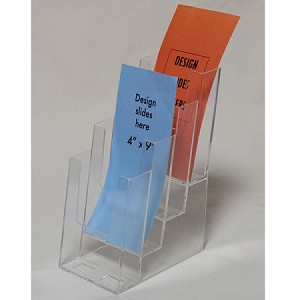 "Clear Acrylic 4-Tier Brochure Holder for 4""w Literature"