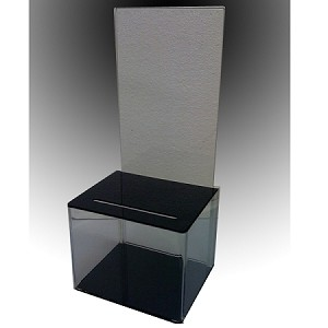Suggestion Box - Clear plastic with black top