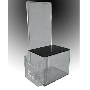 Clear Acrylic Contest Entry Ballot Box with Black top and tri-fold brochure holder pocket