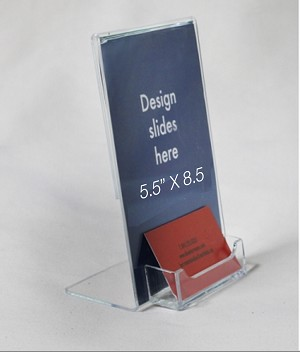 5.5x8.5 Plastic Sign Holder with business card pocket