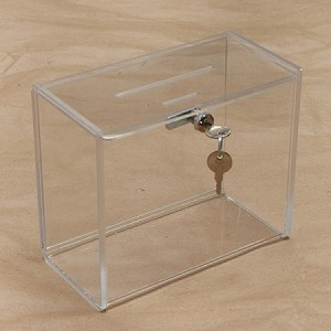 Medium Clear Countertop Suggestion, Comment and Donation Box