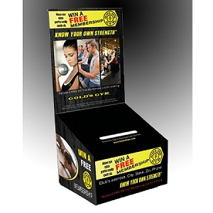 GGB3 - Pre-Designed Gold's Gym Cardboard Promo Box - Custom Bottom Front Decal Design 1