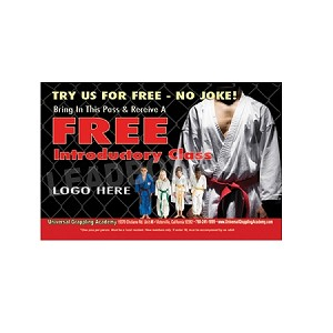 "Guest Pass Martial Arts 5 -(4.25""w x 2.75""h), We'll Add Your Logo at NO COST"