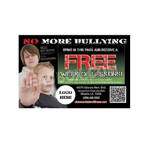 "Guest Pass Martial Arts 6 -(4.25""w x 2.75""h) -Stop Bullying"