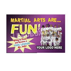 "Martial Arts Design 9 (4.25""w x 2.75""h), We'll Add Your Logo at NO COST. 14pt cover gloss paper"