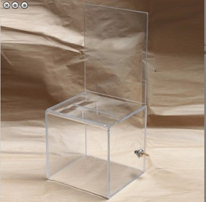 LARGE All Clear Plastic Raffle Box With Sign holder: 8.5w x 11h