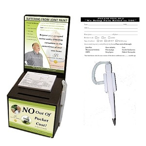 Medical Supply Cardboard Ballot Box - Turn-Key: Includes 25 Black Promotion Boxes, 25 Decals(top/bottom front). 25 White Security Pens, 25 Medical Supply Entry Pads