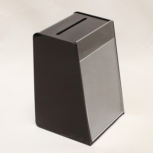 Small/Medium countertop black plastic suggestion ballot box. See description for dimensions. Slot on top. Artwork sold separately