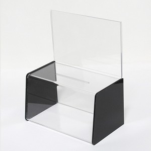 "Plastic Donation Box  - Deluxe 8.5"" x 5.5"" display area"