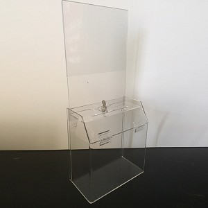 LARGE All Clear Wall Mount Acrylic Comment Box w/Header